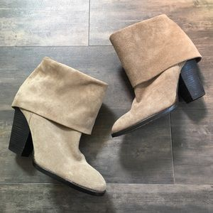 Vince Camuto Suede Leather Fold Over Ankle Boots